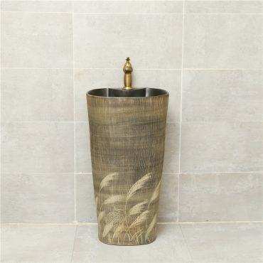 Đôn chậu sứ mỹ thuật DC021 có hoa văn tự nhiên đầy tính nghệ thuật đem lại nét sang trọng cho không gian phòng tắm tân cổ điển
