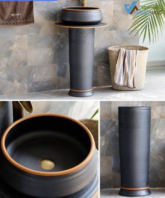 Chậu rửa mặt màu đen với sự thông mình trong cách thiết kế và sáng tạo trong hoa văn tạo ra sản phẩm sang trọng và đẳng cấp cho không gian phòng tắm