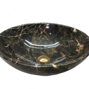 Chậu đá tự nhiên TN008 có những đường vân màu cam tự nhiên cùng sắc đen chân thực tạo nên hình ảnh tuyệt vời cho thiết bị vệ sinh tân cổ.